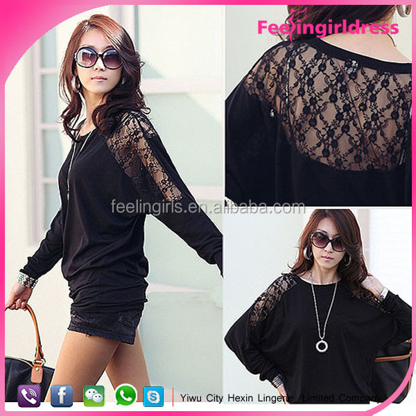 Hot selling wholesale spring clothing black lace blouse women shirt model