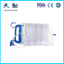 Disposable pvc medical grade urine drainage bag with T valve and anti-reflux film