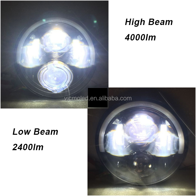 7 inch Motorcycle LED DRL Projector Headlight with Angel Eye for Honda Headlight CB400 CB500 CB1300 Hornet 250 600 900 VTE
