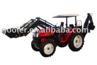 4x4 compact tractor with loader, wheeled tractor DQ404 with Front end loader and Backhoe attachment