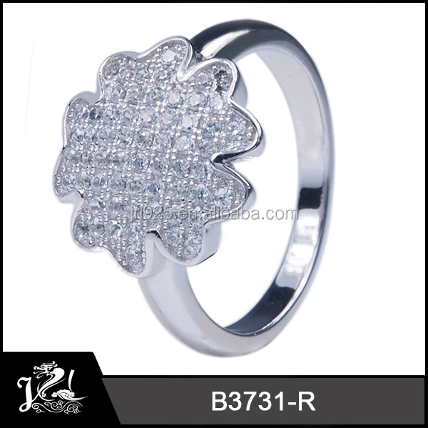 2014 fashion 925 Sterling Silver Rings with micro pave cz, silver cz ring low moq