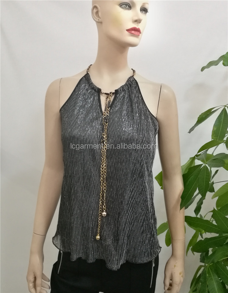 Women fashion clothing 2017 gray Jacquard bandage vest halter sexy tops for women