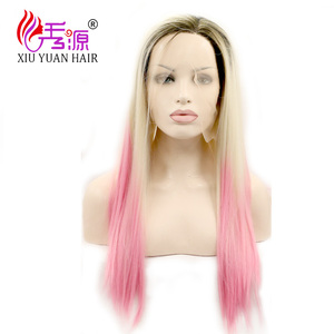 Cheap Fashion Party Synthetic Hair Wig Black Pink Two Tone Ombre Bob Wigs