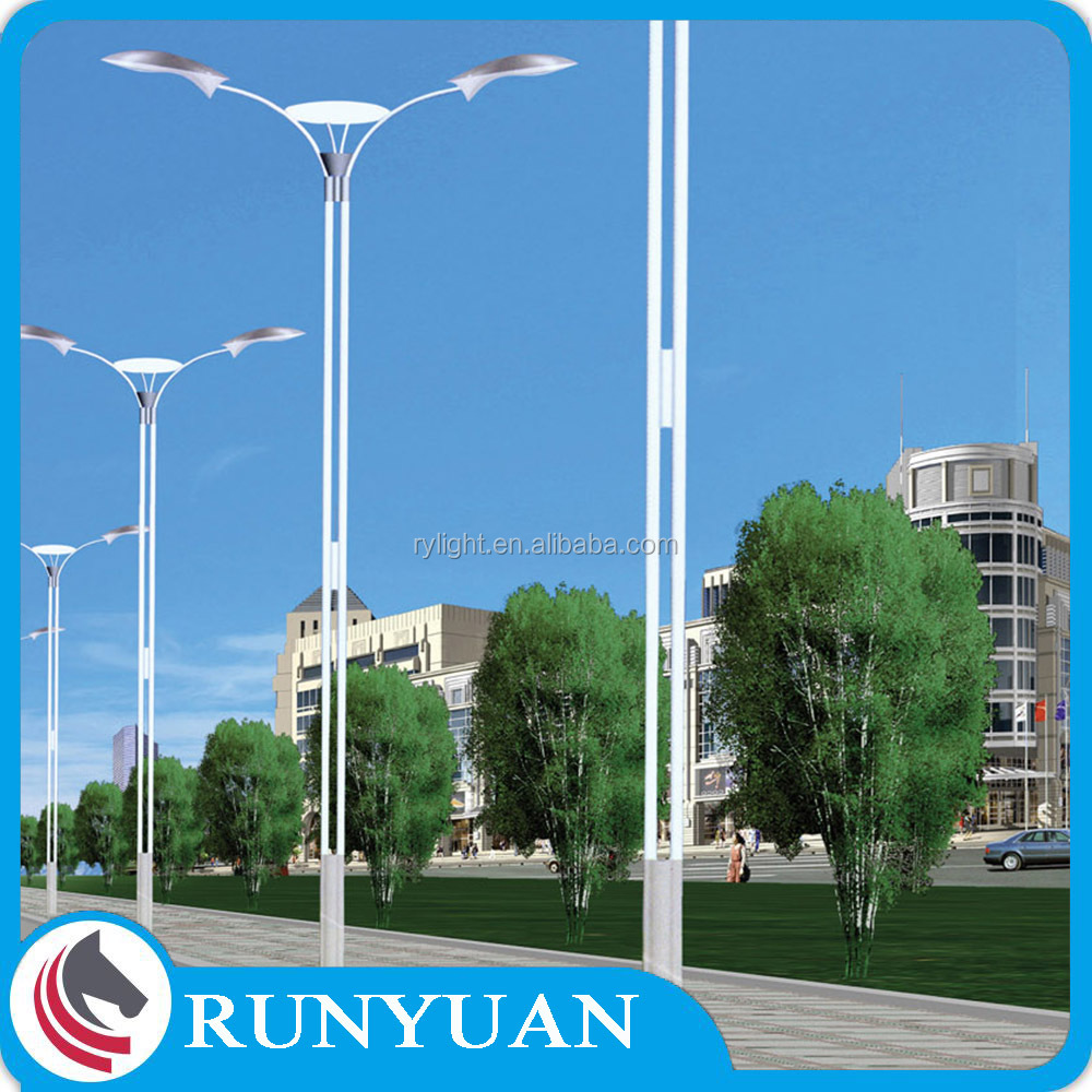 OEM Dual-Arm Driveway Pole Light with Hot-dip Galvanization