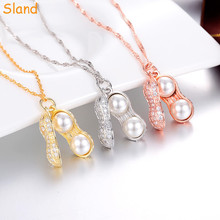 Fashion jewellery designs fake silver texture pendant necklace peanut with fresh water pearl