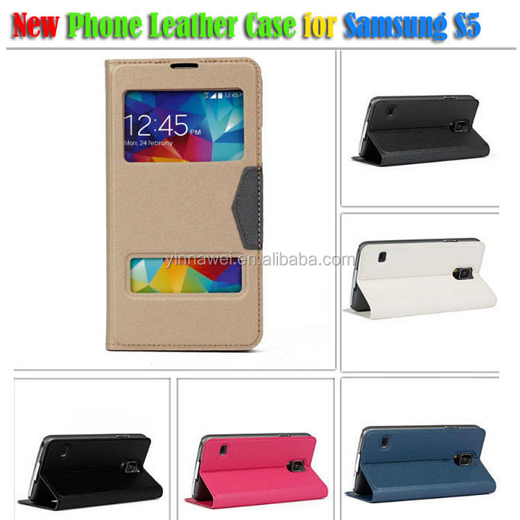 2014 New arrival Premium hand made genuine leather cell phone case for samsung S5