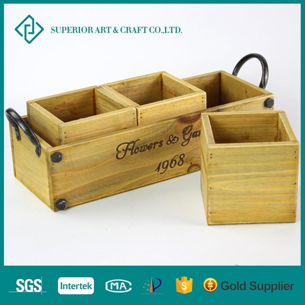 2016 New Design Wholesale Wooden Crate Wooden Garden