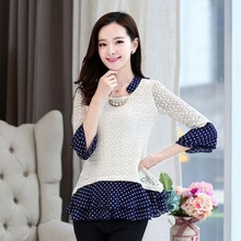 WA2394 hefei mosen new arrival autumn dots women loose blouses online shopping