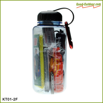 Portable bottle emergency disaster survival kit