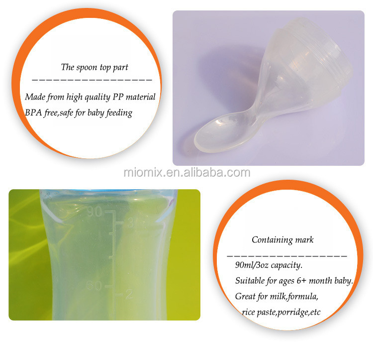 BPA Free Soft Silicone Baby Feeding Bottle, Milk Bottle With Spoon