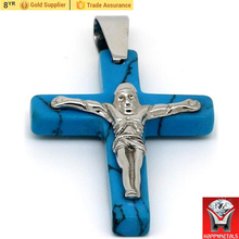 blue tophus steel bail hook Jesus cross pendant