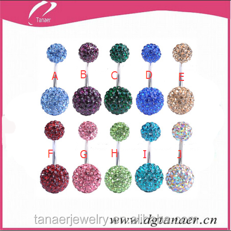 316l surgical steel crystal shamballa Belly Button ring for belly piercing jewelry