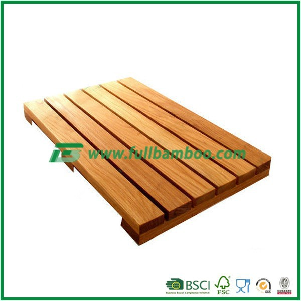 eco-friendly fashion Bamboo Shower Floor and Bath Mat - Skid Resistant - Heavy Duty Solid Design.