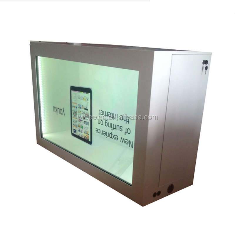 22inch wall mount standalone transparent lcd display showcase
