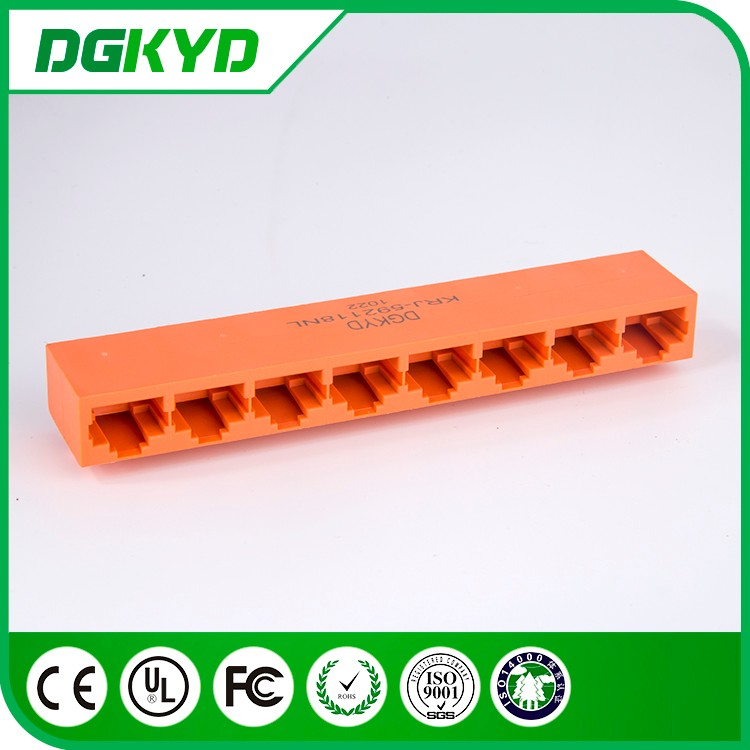 China factory 1 x 8 port ganged rj45 jack , unshielded , orange color