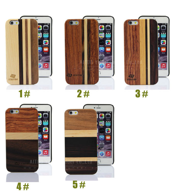 Wholesale Fashion Mix Colored Real Wood Custom Hard Back Wooden Phone Cases for iPhone 6/6s