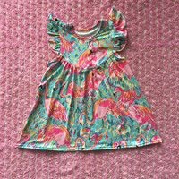 Boutique baby clothes remake summer dress flutter sleeve flamingo fabric baby dress