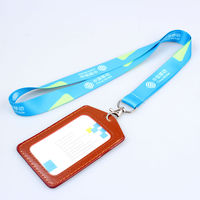 Fashion promotional bright color lanyard with id card holder clip,light blue lanyard with sample free