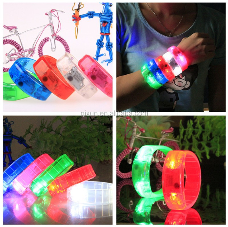 New Sound Activated led bracelet 5 colors light up wristband plastic bracelet glow blinking party decoration toys