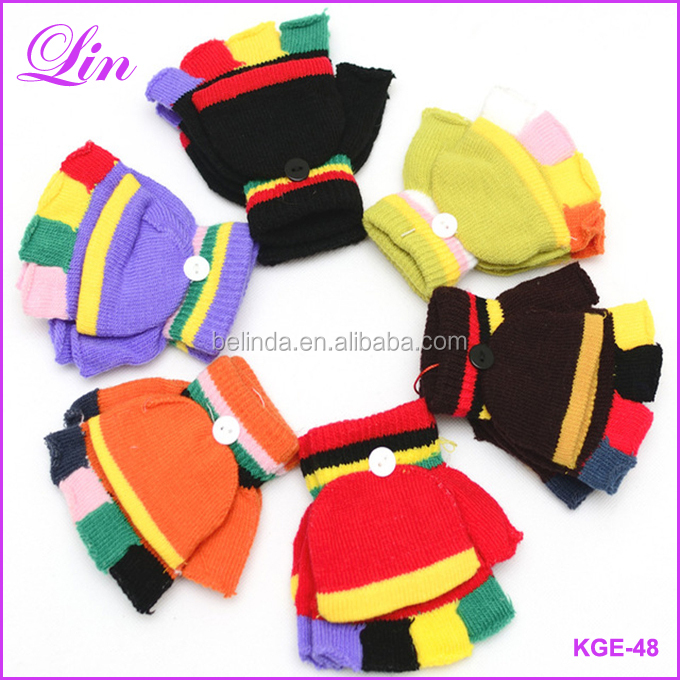 Warm Winter Kids Gloves Striped Fitness Fingerless Gloves Knitted Half Finger Children Gloves