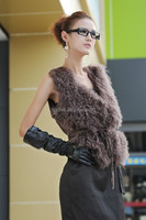 2016 New Fashion Real Mongolian Girls Fur Vest With Suede Fabric Back Waist Belted