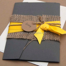 deep black card linen paper blet with yellow silk ribbon weddin gpocketfold wedding invitations card