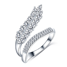 Platinum Plated Brass Micro Inlay CZ Diamond Finger Nail Ring Elegant Leaves Rings For Women CRI1041