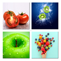 4 Pieces/Fresh Fruit Images Canvas Prints/Kiwi and Berry Canvas Painting/Apple and Tomato Canvas Drawing