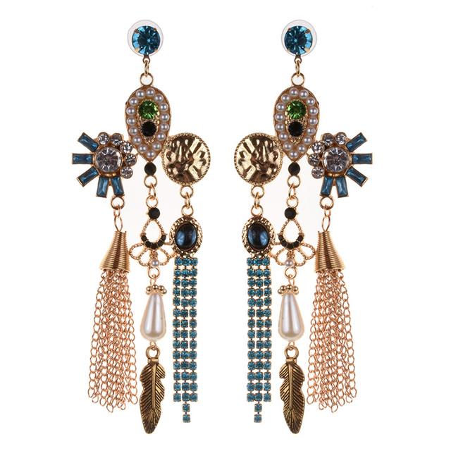Bridal Women Crystal Statement Earring Plant Leaf Drop Tassel Earrings