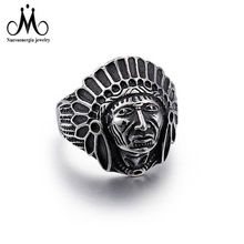 Retro Anti-silver Ancient Indian Chief Engraved Skull Stainless Steel Ring For Men
