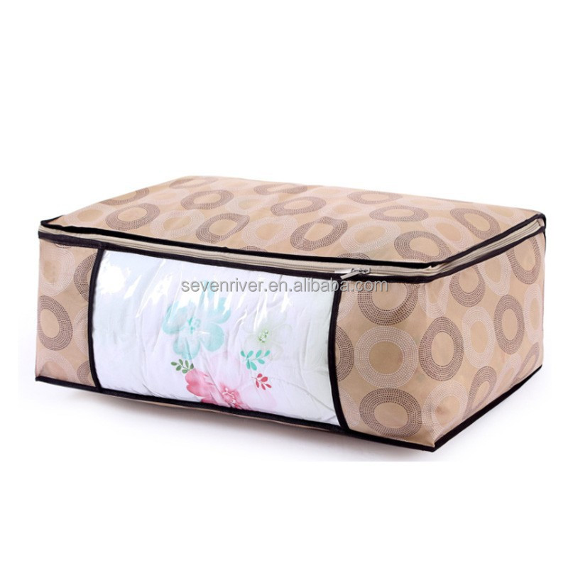 Wholesale Non Woven and PVC Packing Zipper Quilt Storage Bag