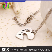 JTN 069 Yiwu Huilin Jewelry New innovation 2pcs peach heart key best friends brother girlfriend suit necklace wholesale
