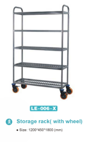 LE-006-X Stainless steel five layer plate storage rack with wheels