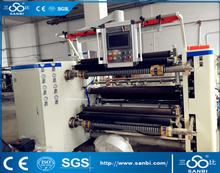 High speed slitting and rewinding machine for plastic film