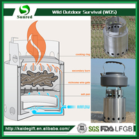 New Product Outdoor Cooking Stainless Steel Wood Camping Burning Stove