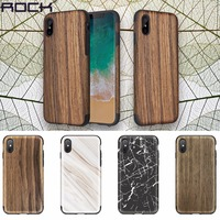 ROCK Case Cover For iPhone X 10 Wood Wooden Grain + Soft Flexible TPU TPE Hybrid Cover Protective Shield For iPhoneX