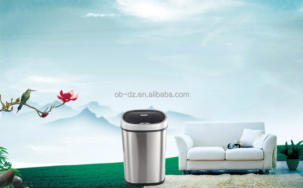 auto household waste bin round shape metal sensor rubbish cans