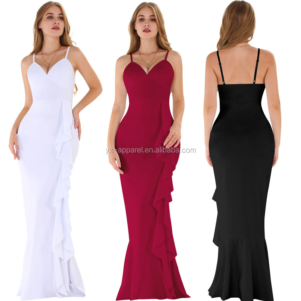Sexy ladies long red off shoulder dinner evening gown dress