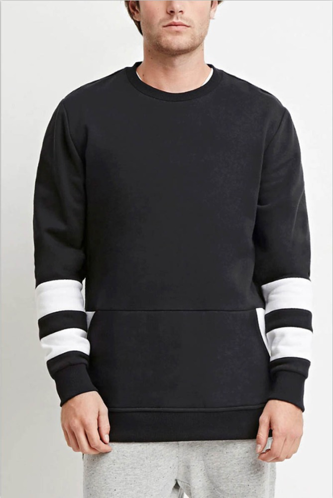 Wholesale Black 100% Polyester Man Crew Neck Sweatshirts With Side Zip