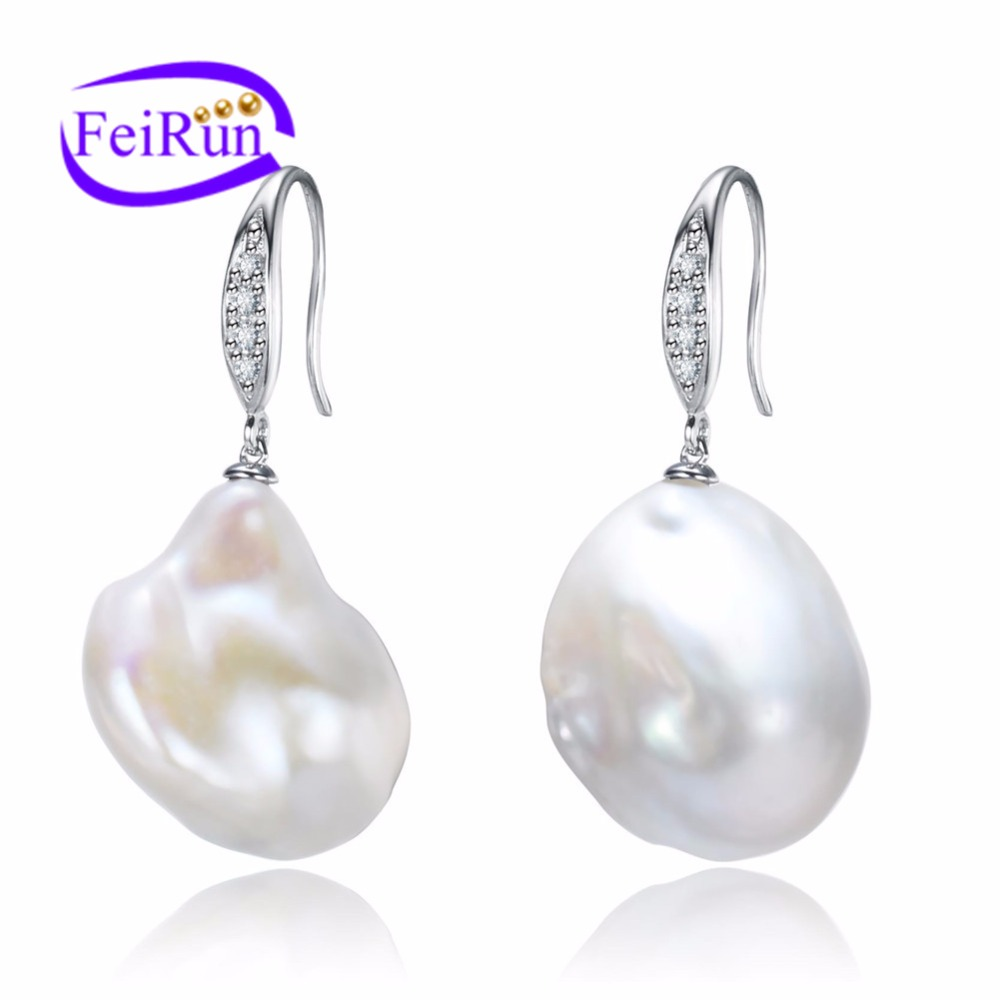 15-16mm big irregular shape natural freshwater fashion pearl earrings baroque pearls
