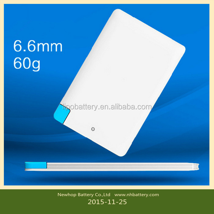 Ultra Slim business card mobile rechargeable phone charger for portable cell phone