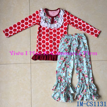 Cheap Wholesale Girls Vintage Floral Pattern Clothing Set Children Ruffled Pants Boutique Spring Outfits