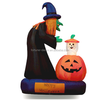 180cm/6ft inflatable witch and an 100cm active pumpkin on the chassis for halloween