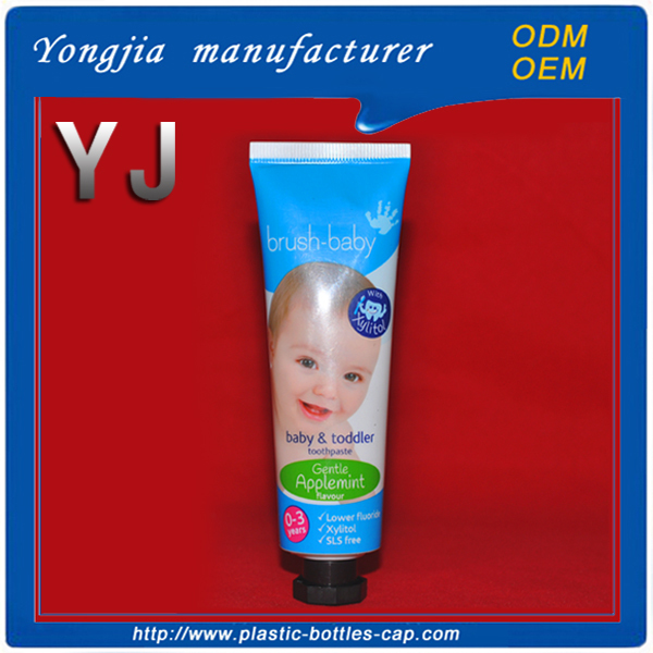 Round empty 50 ml plastic toothpaste tube for personal items