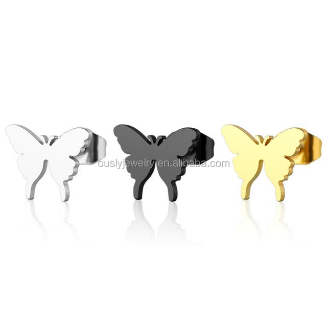 Beautiful Butterfly Ear Stud Dubai Gold Jewelry Earring Designs For Women