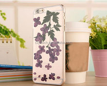 Fashion design Dry Pressed Flowers case for samsung Galaxy S6 edge