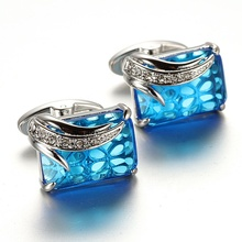 Custom Shine Blue Crystal Rhinestone Brass Modern Luxury Cufflinks