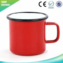 Best selling high quality 0.5mm thickness Portable Outdoor Camping Mug Porcelain Enamel Carbon Steel Mug