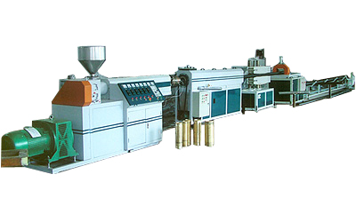 Prestressed plastic corrugated pipe production line