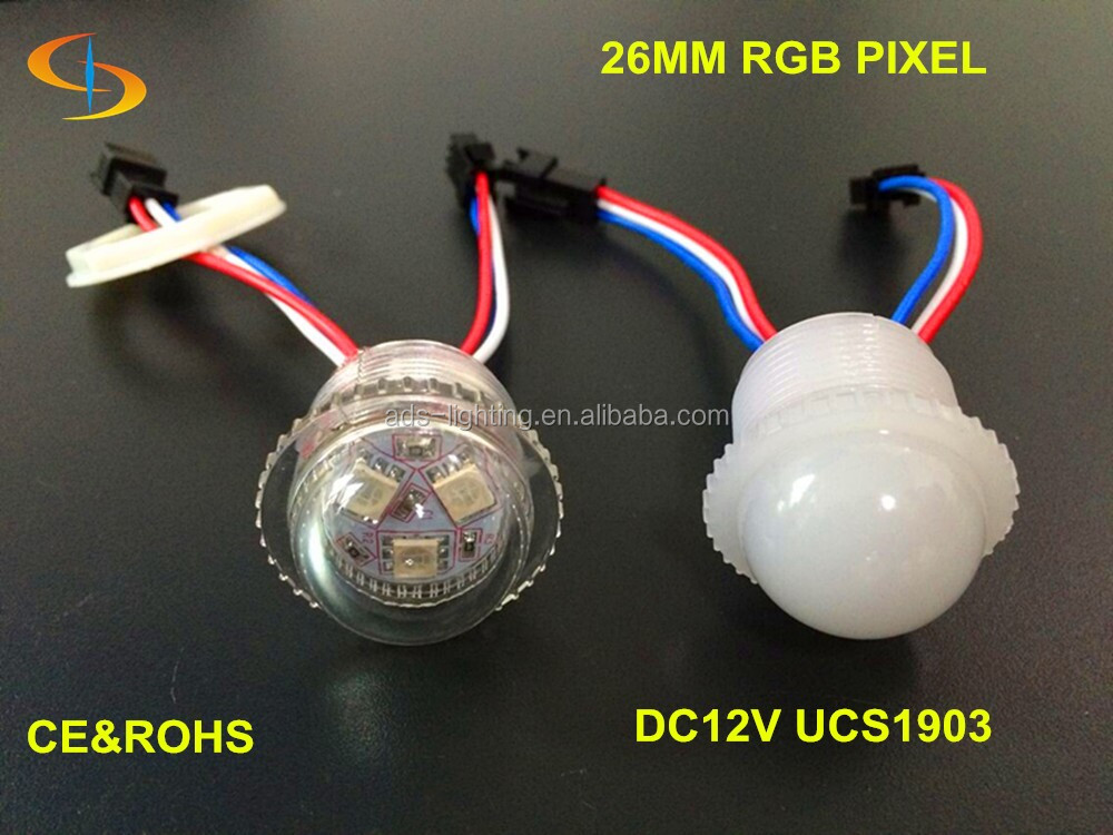 clear / milky cover rgb smd 5050 26MM UCS1903 LED pixel node point light for disco 12v 0.72w
